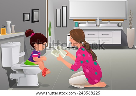 A vector illustration of girl doing potty training with her mother watching - stock vector