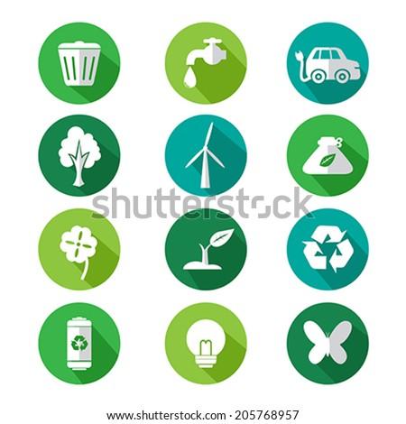 Vector Illustration Go Green Icon Sets Stock Vector 205768957