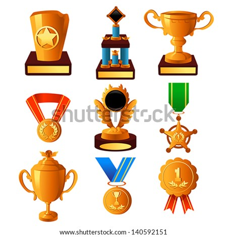 A vector illustration of gold medal and trophy icon sets - stock vector