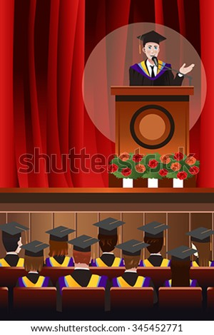A vector illustration of graduating young man giving a speech