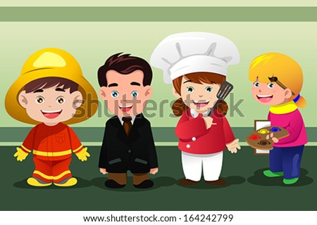 A vector illustration of group of children dressing up as professionals - stock vector