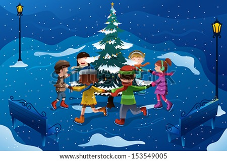 A vector illustration of group of happy kids skating around a Christmas tree - stock vector