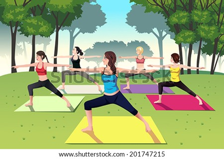 A vector illustration of group of women doing yoga in the park - stock vector