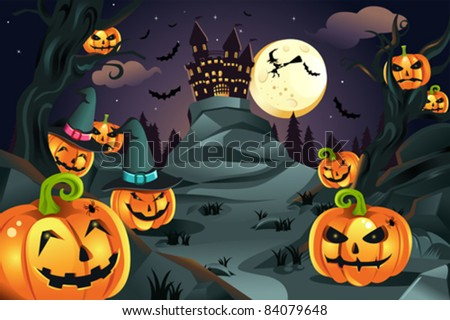 A vector illustration of Halloween background with pumpkins and spooky castle and flying bats - stock vector