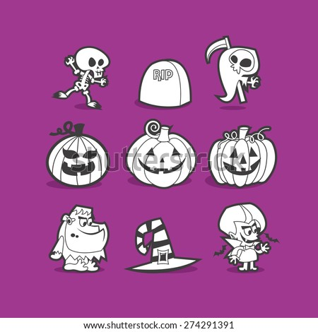 A vector illustration of halloween clip art in cool line art style. - stock vector