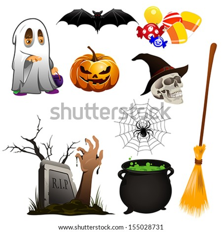 A vector illustration of Halloween icon sets - stock vector