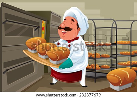 A vector illustration of happy baker holding breads in the kitchen - stock vector