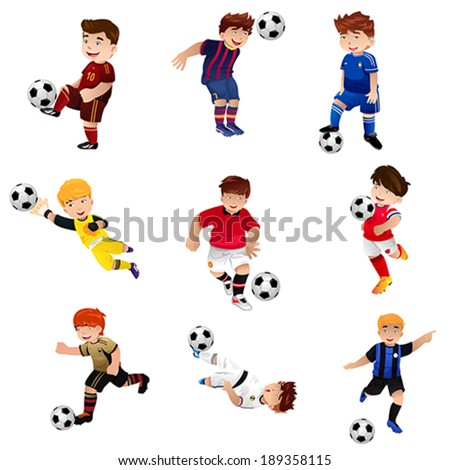 A vector illustration of happy boy playing soccer  - stock vector