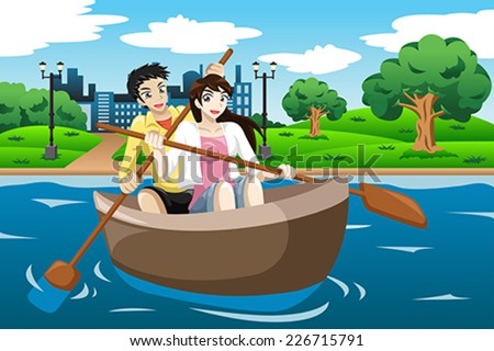 A vector illustration of happy couple rowing a boat on lake - stock vector