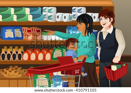 A vector illustration of happy family doing grocery shopping together - stock vector