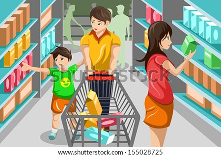 A vector illustration of happy family grocery shopping in supermarket - stock vector