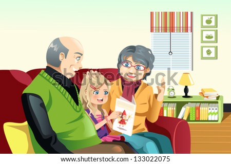 A vector illustration of happy grandparents and their little granddaughter reading a book  together - stock vector