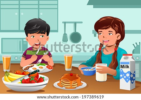 A vector illustration of happy kids eating healthy breakfast at home - stock vector