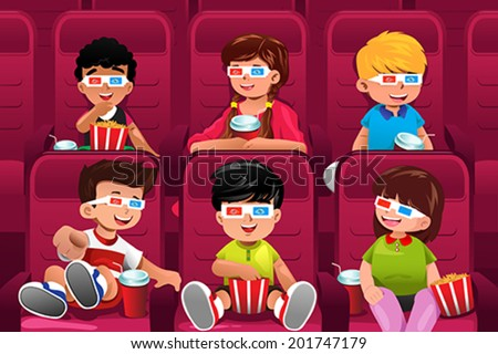 A vector illustration of happy kids going to a movie together - stock vector