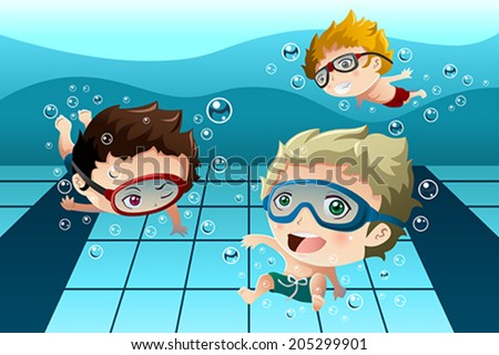 A vector illustration of happy kids having fun in the swimming pool - stock vector