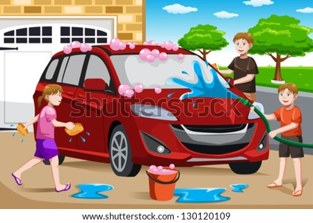 A vector illustration of happy kids helping their father washing car - stock vector