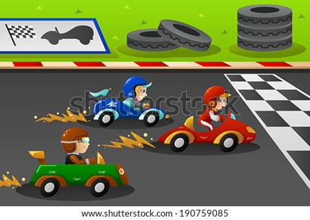 A vector illustration of happy kids in a car racing - stock vector