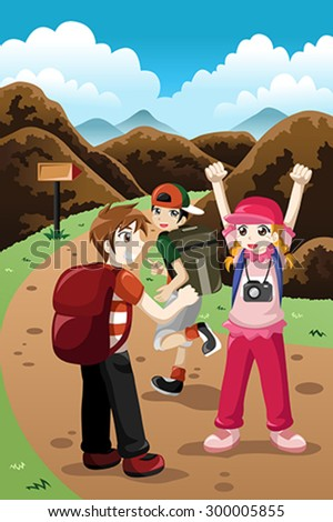 A vector illustration of happy kids on a adventure trip - stock vector