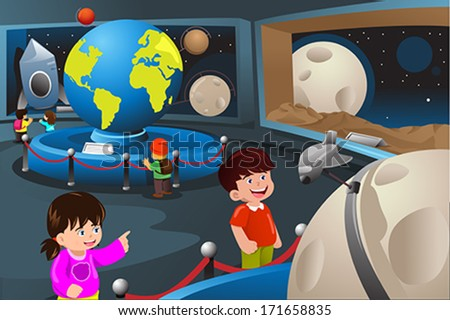 A vector illustration of happy kids on field trip to a planetarium - stock vector