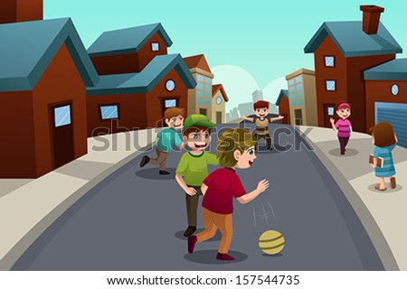 A vector illustration of happy kids playing in the street of a suburban neighborhood - stock vector