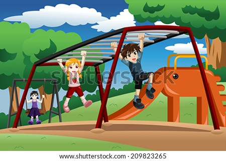 A vector illustration of happy kids playing on a monkey bar at the playground - stock vector