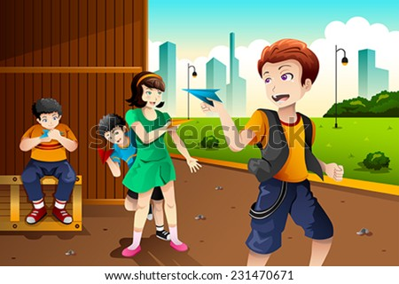 A vector illustration of happy kids playing paper plane in the park together - stock vector