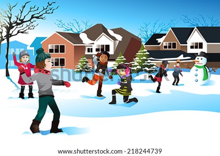 A vector illustration of happy kids playing snow ball fight together - stock vector