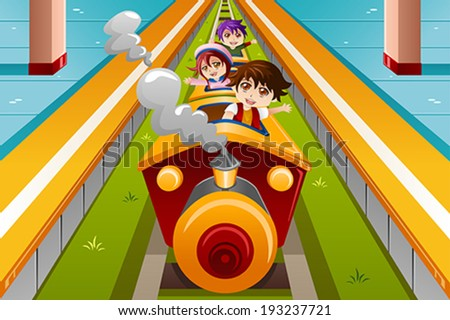 A vector illustration of happy kids riding a train - stock vector