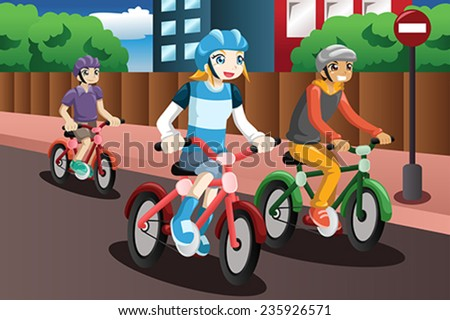 A vector illustration of happy kids riding bike together - stock vector