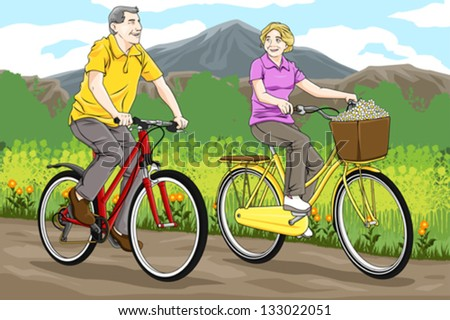 A vector illustration of happy senior couple biking together in the park - stock vector