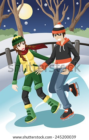 A vector illustration of happy young couple ice skating outdoor - stock vector