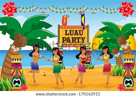 A vector illustration of Hawaiian Luau party - stock vector