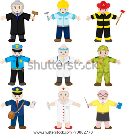 A vector illustration of icons of people with different occupations - stock vector