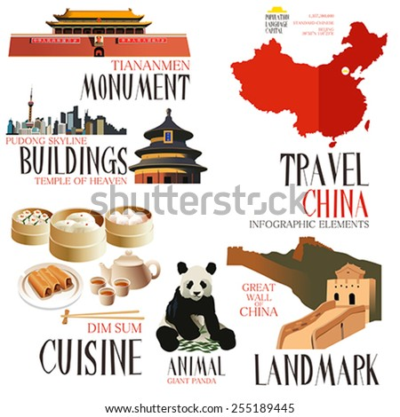 A vector illustration of Infographic elements for traveling to china - stock vector