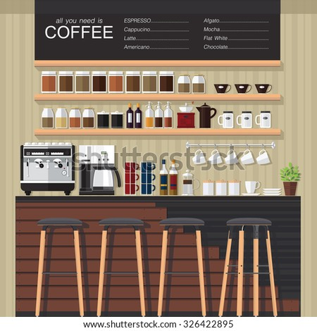 Vector illustration cafe interior bannerpeople inside - Modern coffee shop interior ...
