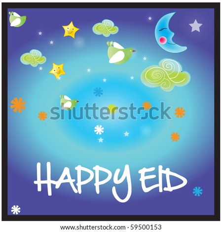 a vector illustration of Islamic Art design with colorful background and writing Happy Eid - stock vector