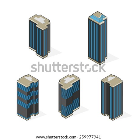 A vector illustration of isometric corporation skyscrapers. Isometric Skyscrapers. Tall Isometric financial buildings.  - stock vector