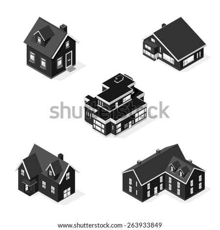 A vector illustration of isometric homes. Isometric modern Homes. Various houses icon set. - stock vector