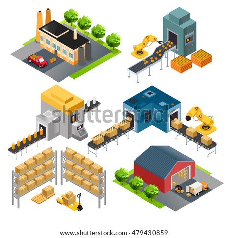 A vector illustration of isometric industrial factory buildings