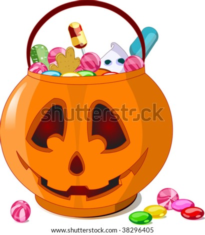 A vector illustration of Jack O' Lantern  bag full of Halloween treats. - stock vector