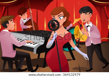 A vector illustration of jazz band with a female singer in a night club - stock vector
