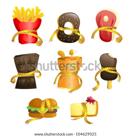 A vector illustration of junk food tied up with measurement tape to illustrate a diet concept - stock vector