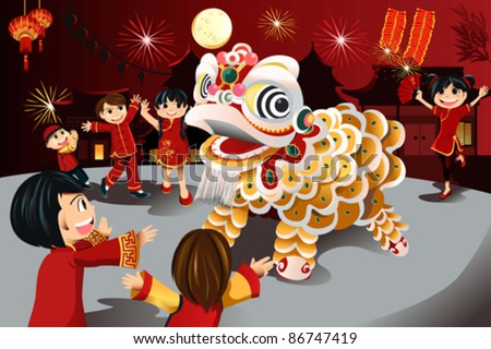 A vector illustration of kids celebrating Chinese New Year