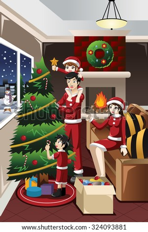 A vector illustration of kids helping their parents decorating their Christmas tree together - stock vector