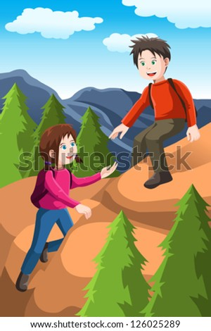 A vector illustration of kids hiking in the forest - stock vector