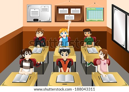 A vector illustration of kids in classroom - stock vector