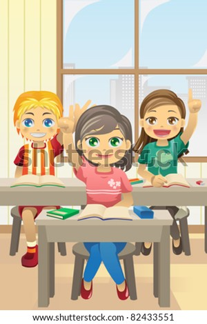 A vector illustration of kids in classroom asking questions - stock vector