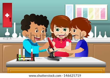 A vector illustration of kids making science experiment in a lab - stock vector