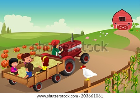 A vector illustration of kids on a hayride in a farm during Fall season - stock vector