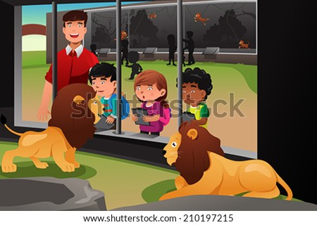 A vector illustration of kids on a school field trip to the zoo - stock vector